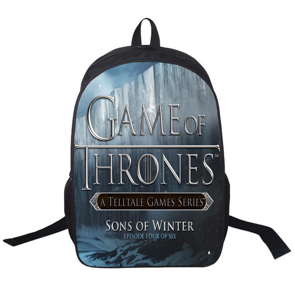 e01d9bc5a64 16 Inch Anime Game of Thrones Backpack For Teenagers Boys Girls School Bags Women  Men Travel