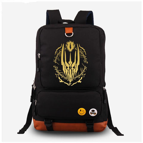 2017 The Hobbit The Lord of the Rings Eye of Sauron Gilding Printing Women Laptop Canvas Backpack Mochila Escolar school Bags