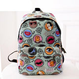 2017 new fashion printing canvas bag rainbow badges backpack harajuku eye balls backpacks student school bag travel