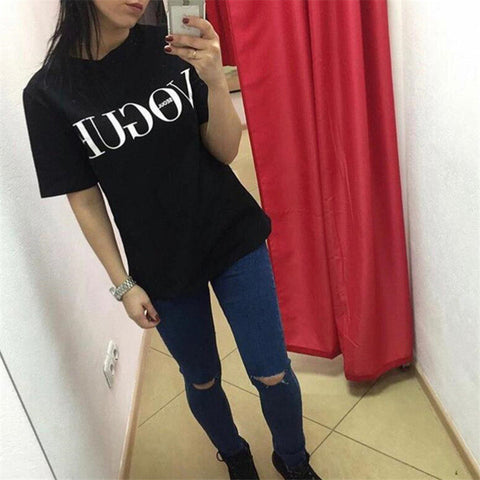 33d7fcce ... Tshirt 2017 Brand Summer Tops Fashion Clothes for Women VOGUE Letter  Printed Harajuku T Shirt Red ...
