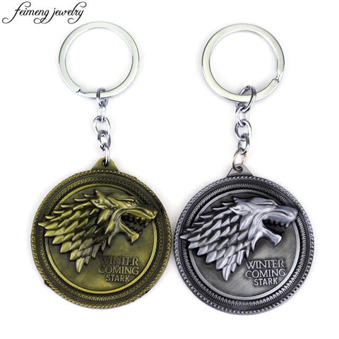 Winter Game of Thrones GOT  Keychain Song  Ice and Fire Key Rings Daenerys Targaryen Dragon Keyring Stark Wolf Head Key Chain Chaveiro AT_77_7