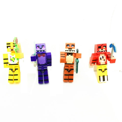 Minecraft Mine Craft Five Nights at Freddy's Mashup Juguetes 4 piece set Foxy Chica Bonnie Freddy Action figure FNAF game gift toy - Animetee