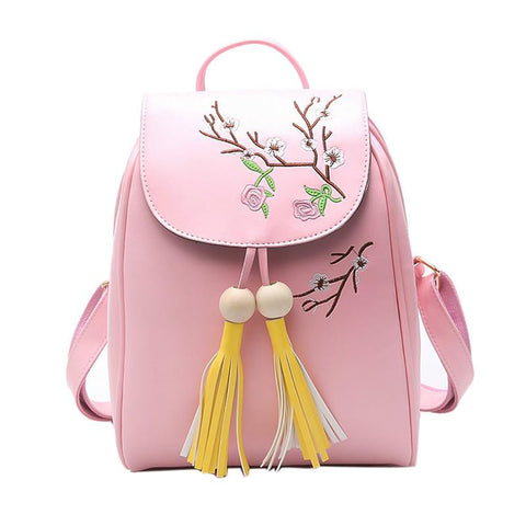 bf54332900 EnoPella Pu Leather Women new vintage casual Mini small leather travel bags  women tassel School Backpacks ...