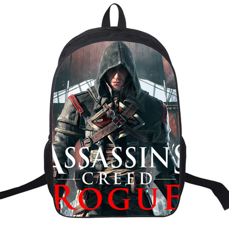 16 Inch Anime Assassin Creed Nylon Backpack Cartoon School Bag