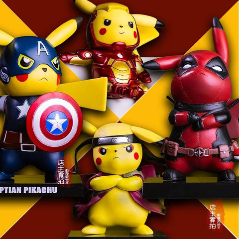 Deadpool Dead pool Taco Pikachu Cosplay  Captain America Iron Man Super Mario Naruto Kakashi PVC Figure Collectible Model Toy AT_70_6