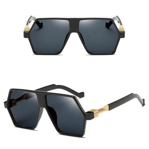 New Irregular Frame Sunglasses Fashion Reflective Sun Glasses Square Flat Panel Big Frame Retro Women Men Sunglasses C3
