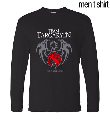 Winter Game of Thrones GOT  Targaryen Fire & Blood Long Sleeve Men T Shirts 2017 Spring Summer 100% Cotton Male T-Shirts Hipster Tops Tees AT_77_7