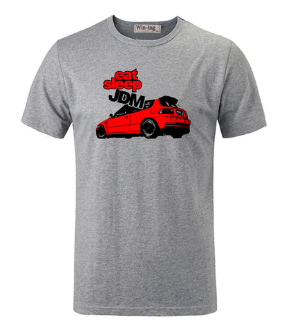 COOL Fashion Eat Sleep JDM Red Car Cotton Round Neck Printed Short Sleeves T-Shirt Men's Boy's Graphic Tees Tops T shirts - Animetee - 1
