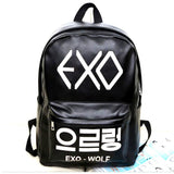 2017 New Korean KPOP PU School Boys Backpack Teenage Girls EXO Bags Fashion Backpack Rucksacks Women Mochila