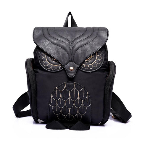 Women Backpack Nylon PU Leather Patchwork Cute Owl Shape Gilrs Female School Bags For Girls