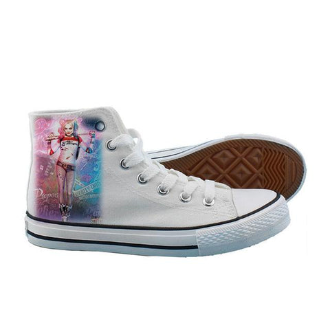 f2d4b9d4a580c2 ... Cosworld Suicide Squad Canvas Shoes Women Casual High-Top Star Flat  ShoesPrinting Shoes Harley Quinn ...