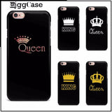 Trendy Luxury Couple King Queen Coque plastic hard Cover Case For Apple iPhone 7 5 5S SE 6 6S Plus 6Plus 7Plus Samsung S6 S7 S8 Case AT_94_13