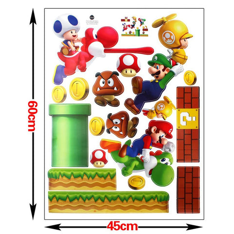 Mario Bros Muurstickers.Super Mario Bros Luigi Yoshi Koopa Troopa Coins Sticker Wall Art