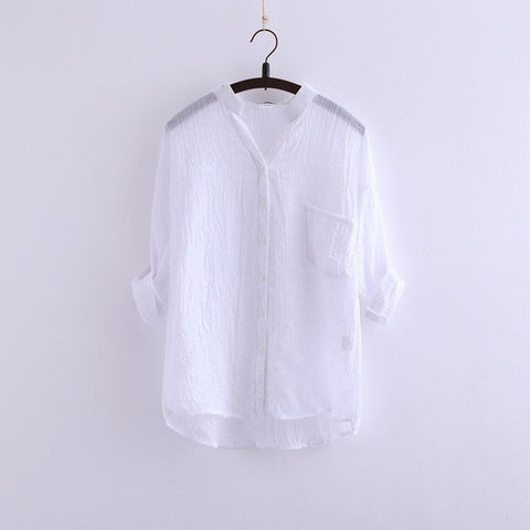 54a0d87090 ... New 2017 Summer Sun Protection Clothing Japanese Small Fresh Cotton  Loose Seven Female Linen Shirt Collar ...