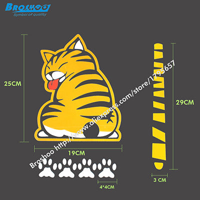 Cat Lovers Car decal back window windshield tail sticker paws moves while wiping rain or dirt off - Animetee - 1