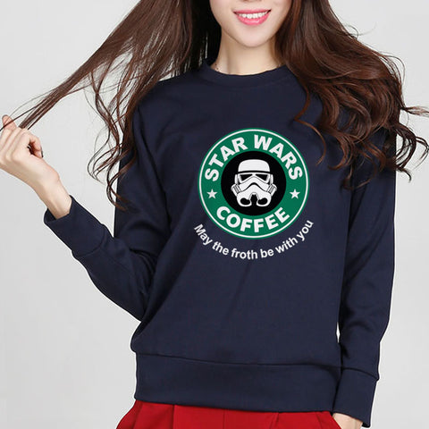 """STAR WARS COFFEE"" Letter Printed Darth Vader Autumn Wineter Sweatshirt Fashion Women Pullover Hoodies Hipster Brand Tracksuit"