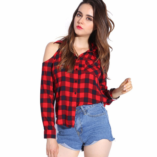 41f23d2a161 Plaid Blouse Cold Shoulder Women Sexy Top Checked Shirts Red Checkered –  2018 AT 142 30 (Animetee.com Friends)