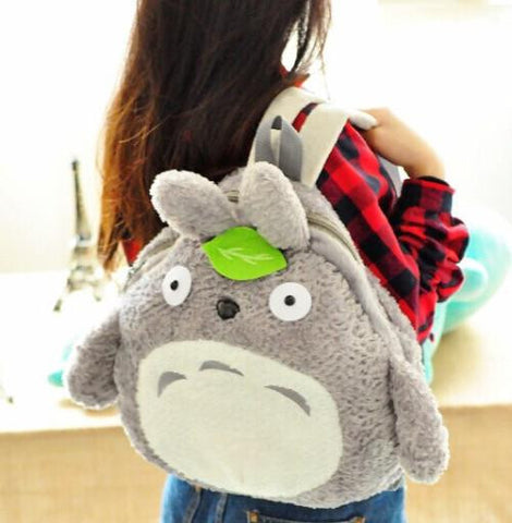 & Backpack ; BIGGER [37*39CM] Fits Lady Girls Kids & Adult Kawaii Green Leaf TOTORO Plush Backpack Shoulder BAG