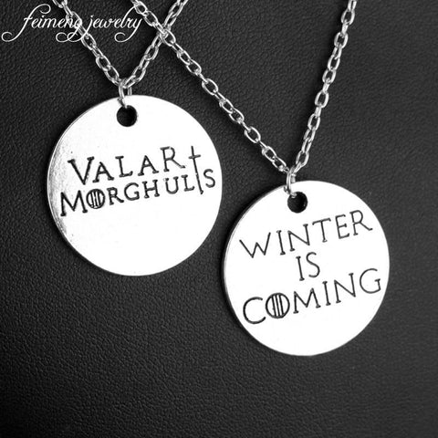 Winter Game of Thrones GOT feimeng jewelry  Necklace Letter Winter is Coming Valar Morghulis Pendant Song  Ice and Fire Statement Necklace AT_77_7