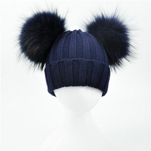 ce3f39bf845 ... Winter Baby Knit Hat With Two Fur Pompoms Boy Girls Natural Fur Ball  Beanie Kids Caps