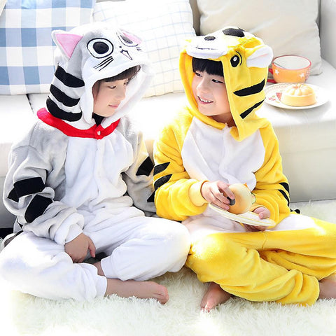 2016 New onesie kids cosplay pajama boys girls animal onesie cartoon Neko Atsume cat pyjamas tiger costume children sleepwear