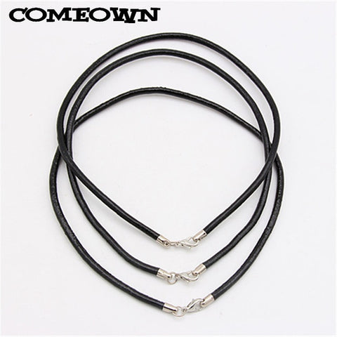 BLACK REAL LEATHER NECKLACE CORD STRING WITH LOBSTER CLASP