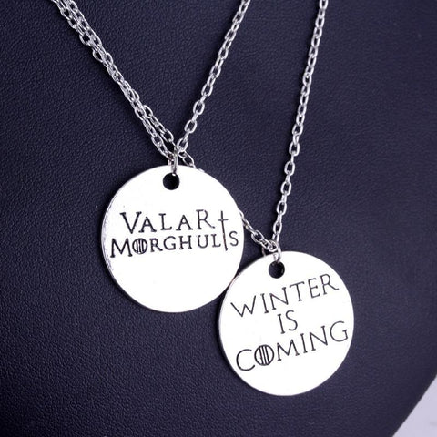Winter Game of Thrones GOT  Pendant Necklace Winter is Coming Valar Morghulis Letter Necklace Metal Alloy Round Jewelry Best Gifts AT_77_7