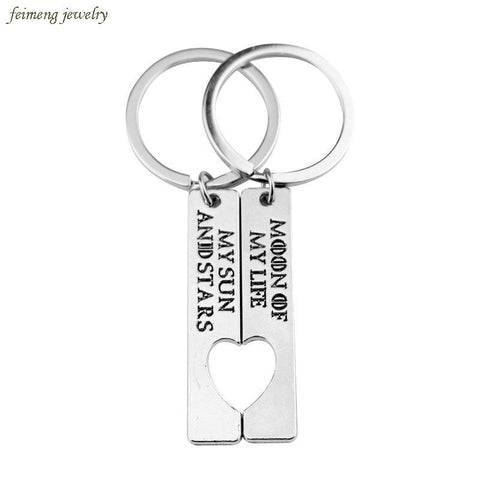"Winter Game of Thrones GOT Movie  Keychain Letter ""My Sun and Stars,Moon  My Life"" Heart Logo Cute Gift for Lovers Couples Accessories AT_77_7"