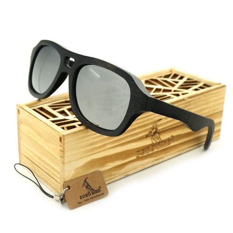 BOBO BIRD BG001g Brand Creative Designer Handmade Polarized Sunglasses Natuer Ebony Wooden Glasses UV400 Goggles With Wooden Box