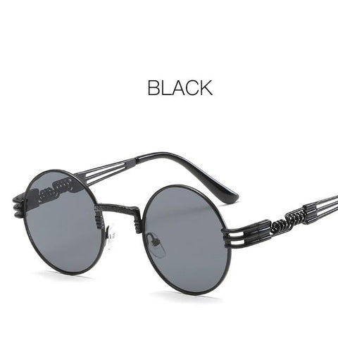 Gothic Steampunk Men Round Sunglasses Women Luxury Brand Designer Metal Frame Coating Mirror Glasses Shades Oculos Masculino
