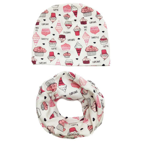 c3ffcd5f049 1 set beautiful heart tree bunny car printed cotton baby cap scarf set boy  girls hat ...