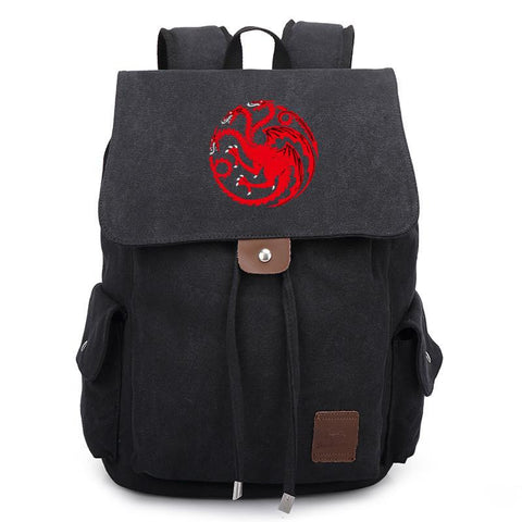 Fashion TV Show Game of Thrones Black Backpack School Shoulder Bag Travel Bag