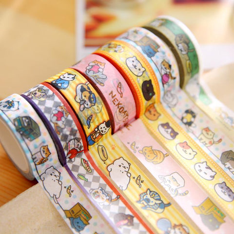20 pcs/lot DIY Japanese Paper Washi Masking Tapes Neko Cats Decorative Adhesive Tapes Stickers 15mm*10m Cute Stationery