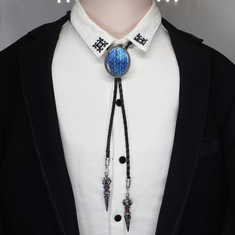 Winter Game of Thrones GOT HZSHINLING oval Trendy Blue Dragon Egg Bolo Tie West Cowboy Glass  Jewelry  Native Dancer Bolo-tie necklace AT_77_7