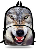 16-Inch Fashion Kids Animal Backpack White Wolf Bag For Kids Wolf Backpack Zoo Animal Bag For Children School Bags For Boys Girl