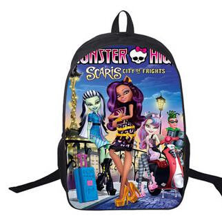 2016 new Cartoon monster high backpack children schoolbag school student book bag boys kids girls bags school bag
