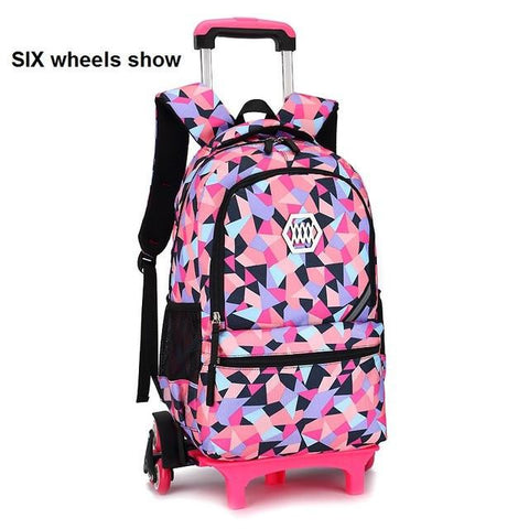 Rolling Backpack Girl Trolley Case Child School Bag Students Suitcase Luggage 6-wheels,One-Size