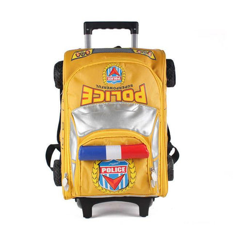 3D Cartoon Car Wheeled Backpack School Boys 2016 New High Quality Waterproof Nylon Trolley School Bag Children 7 Color Mochila