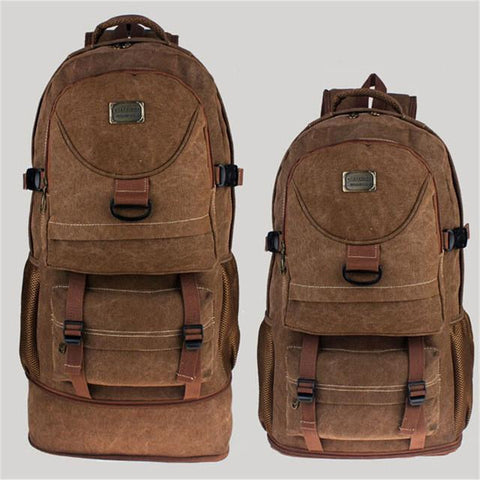 60L Large Capacity Canvas Backpacks Travel Backpacks With Retractable Bottom