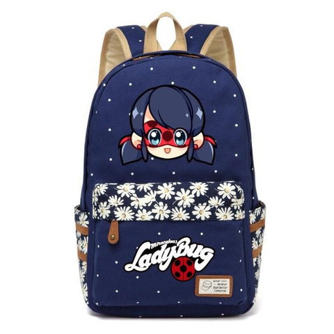 Anime Miraculous Ladybug Canvas bag Flower wave point Rucksacks backpack for teenagers Girls women School travel Shoulder Bag