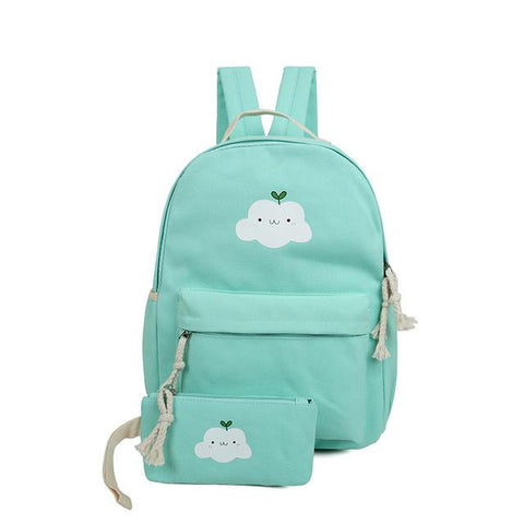 2ps/set Cute Cartoon Women Bags Rucksack Cloud Printing Backpacks School Bags For Teenagers Composite Pencil Bag Mochila Escolar