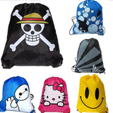 2Pcs Baymax Hello Kitty Smile Face One Piece Drawstring Bag Mochila Traveling Beach Bags School Cartoon Kids Backpack Waterproof