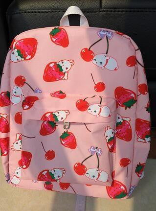 1 piece Japanese rabbit ulzzang harajuku girl Cherries strawberry backpack preppy style schoolbag men women's shoulder bag