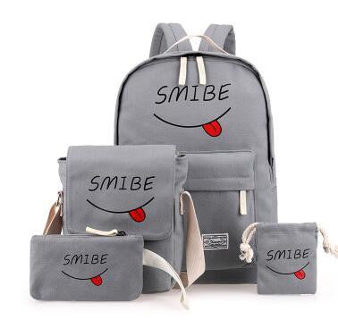 4Pcs Sets Korean Casual Women Backpacks Canvas Book Bags Cute Smibe Print Schoolbag For Teenage