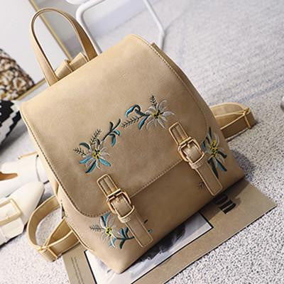 2774953dc3f5 ... Fashion Floral Pu Leather Backpack Women Embroidery School Bag For Teenage  Girls Brand Ladies Small Backpacks