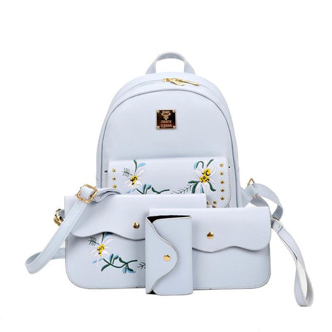 3616d4e3fffc 2017 hot sale 4 Bag Set New girl Backpacks Brand Designer Women Bag  Embroidery Letter ...