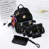 f7321c51413d ... 2017 hot sale 4 Bag Set New girl Backpacks Brand Designer Women Bag  Embroidery Letter