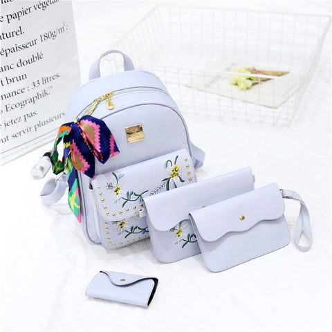 9f3358a163fa ... 2017 hot sale 4 Bag Set New girl Backpacks Brand Designer Women Bag  Embroidery Letter ...