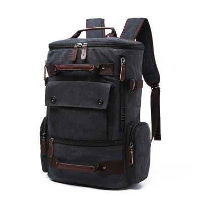 2017 new men's canvas backpack solid color large capacity leisure multi-purpose travel shoulders 0201