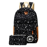 2 pcs/set Fashion Star Women Men Canvas Backpack School Bag For girl Boy Teenagers Casual Travel bags Rucksack